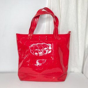 Kate Spade Red Patent Leather Logo Shoulder Tote